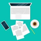 Impiegato di concetto moderno del posto di lavoro, free lance, uomo d'affari, vista superiore Computer portatile, documenti, mati illustrazione vettoriale
