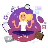 Impiegato di concetto nella posa di yoga Meditazione sul lavoro royalty illustrazione gratis
