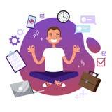 Impiegato di concetto nella posa di yoga Meditazione sul lavoro illustrazione di stock