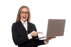 Impiegato di ufficio grazioso con il computer portatile isolato sopra Fotografie Stock