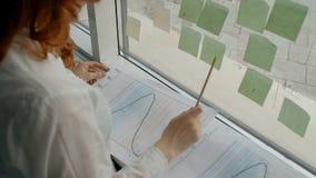 Impiegato femminile che lavora con il modello, finestra facente una pausa con appiccicoso nella società archivi video