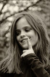 Impishly looking girl royalty free stock image
