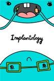 Implantology ręka rysująca wektorowa ilustracja w kreskówka stylu Dentysta i pacjent Stawiać nowego ząb royalty ilustracja