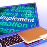 Implement Word Cloud Laptop Shows Implementing Or Execute A Plan Stock Photos