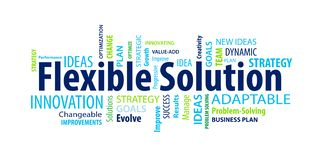 Flexible Solution Word Cloud. On a White Background stock illustration