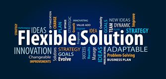 Flexible Solution Word Cloud. On a Blue Background vector illustration