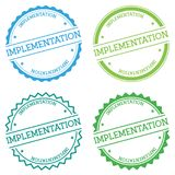 Implementation badge isolated on white background. Flat style round label with text. Circular emblem vector illustration Royalty Free Stock Photography