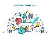 Implementation of innovations. Introduction of innovative technologies, scientific, technical progress. Implementation of innovations. Introduction of Royalty Free Stock Photos