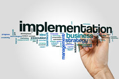 Implementation word cloud. Concept on grey background Royalty Free Stock Photo