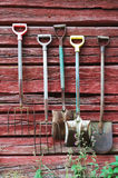 Implements on the planked wall Royalty Free Stock Photo