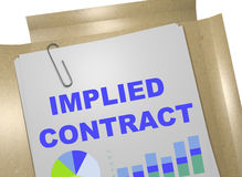 Implied Contract concept. 3D illustration of IMPLIED CONTRACT title on business document Stock Image