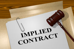 Implied Contract - legal concept. 3D illustration of IMPLIED CONTRACT title on legal document Stock Photo