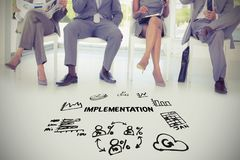 implimentation文本的综合图象在几个象中的 免版税库存图片