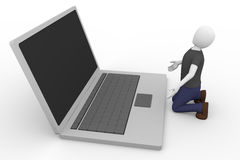 Imploring laptop Stock Photo