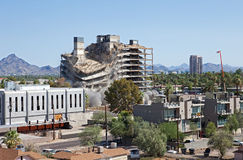 Implosion 7. Building implodes, after series of explosions Stock Image