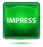 Imponera neonljus - grön fyrkantig knapp stock illustrationer