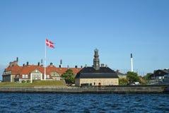 Imponująco architektura stara morska baza, Kopenhaga schronienie zdjęcia stock