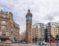 Imponująco architektura stara Tollbooth zegaru i Steeple głowna ulica Glasgow obraz stock