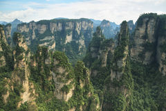 Imponująco piaskowcowi filary w Yuangjiajie terenie Obrazy Royalty Free