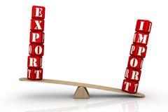 Import überwiegt Export Die goldene Taste oder Erreichen für den Himmel zum Eigenheimbesitze vektor abbildung