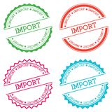 Import badge isolated on white background. Flat style round label with text. Circular emblem vector illustration Stock Photo