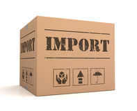 Import cardboard box concept 3d illustration Royalty Free Stock Photography