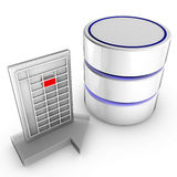 Import data into a database. Icon symbolizing the data import into a database Stock Photo