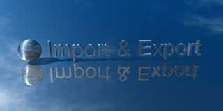 Import and Export. 3d Presentation Business, Logo and Symbol Stock Image