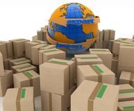 Import and export arrow around earth for business Royalty Free Stock Photos