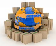 Import and export arrow around earth for business. Concept of buying goods worldwide Royalty Free Stock Image
