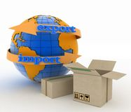 Import and export arrow around earth for business. Concept of buying goods worldwide Royalty Free Stock Photography