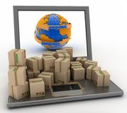 Import and export arrow around earth for business Stock Photos
