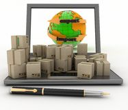 Import and export arrow around earth for business Stock Photography