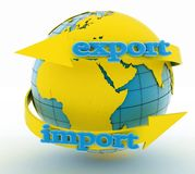 Import and export arrow around earth for business Royalty Free Stock Photography