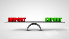 Import export balance concept  on white. 3d illustration Stock Photos