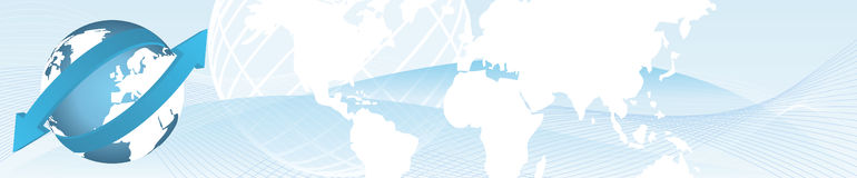 Import export banner. Abstract web banner with globe representing import export Royalty Free Illustration