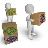 Import Export Boxes Show International Trade Importing And Expor Stock Image