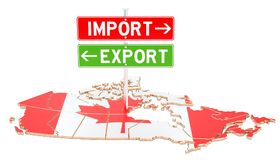 Import and export in Canada concept, 3D rendering. Isolated on white background Stock Images
