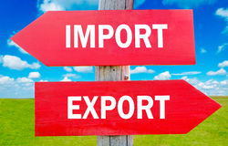Import or export. Choice showing strategy change or dilemmas Stock Photo
