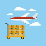 Import and export design. Airplane and handcart with boxes over sky background. export and import design. vector illustration Stock Image