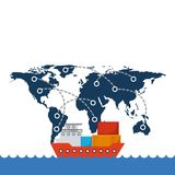 Import and export design. Cargo ship with container over world map network background. export and import concept. colorful design. vector illustration Stock Image