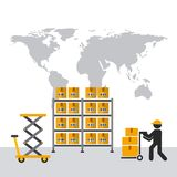 Import and export design. Shelves with carton boxes and man with handcart over world map background. export and import concept. colorful design. vector Royalty Free Stock Photo