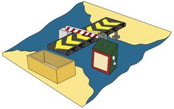 Import & Export Duty. Image illustrates in an abstract form the transfer of goods/ commodities from one country to another, and the box indicates the tariffs Royalty Free Illustration