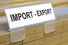 Import export. File folder marked for import and export Stock Photos