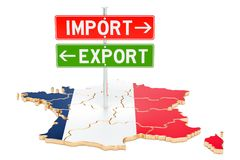 Import and export in France concept, 3D rendering. Isolated on white background vector illustration