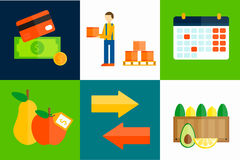 Import export fruits vector illustration. Royalty Free Stock Image