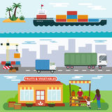 Import export fruits and vegetables delivery Stock Photos