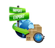 Import and export globe and box and watch Royalty Free Stock Image