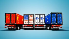Import and export of goods by containers on trailers of the countries of the world 3d render on blue background with shadow royalty free illustration