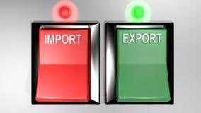 IMPORT - EXPORT kopplar - båda utvalt - tolkning 3d royaltyfri illustrationer